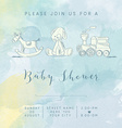 watercolor baby boy shower card with retro toys vector image