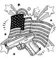 doodle americana gun bw vector image vector image