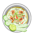 Thai Cucumber Salad with Fermented Salted Crabs vector image