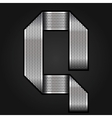 Letter metal chrome ribbon - Q vector image