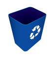 blue plastic recycle waste can or bin vector image