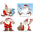 Cartoon Christmas Santa Clauses Set vector image