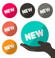 Circle New Tags Set with One in Hand Isolated on vector image