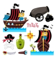Funny pirate elements isolated on white background vector image