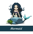 Mermaid girls with black hair sitting on the stone vector image