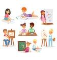 school kids children making art creative young vector image