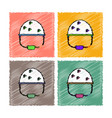 collection of flat shading style icons helmet vector image vector image