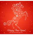New Year card of Horse made of snowflakes vector image vector image