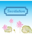 Invitation card with flowers lotus vector image