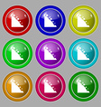 Rockfall icon Symbol on nine round colourful vector image