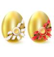 golden chicken eggs vector image vector image