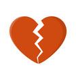 broken heart isolated on white background vector image