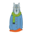 Colourful winter wolf vector image