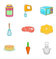 grandma baking icons set cartoon style vector image
