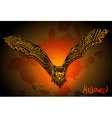 Hand drawn graphic ornate bat on grunge background vector image