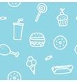 Junk food blue seamless pattern vector image