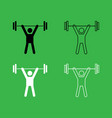 man uping weight icon black and white color set vector image