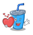 soda drink character cartoon with heart vector image