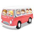 kids in a bus vector image vector image
