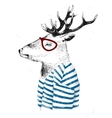 dressed up deer in hipster style vector image