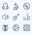 music outlines set collection of plastic vector image