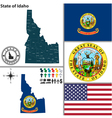 Map of Idaho with seal vector image