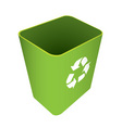green waste recycle can or bin with symbol vector image vector image