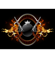 sheriff star with guns ornate frame vector image