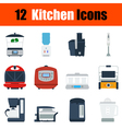 Flat design kitchen icon set vector image
