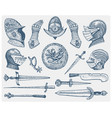 big set medieval symbols helmet and gloves vector image