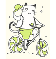 cartoon cat on a bicycle with a hat vector image