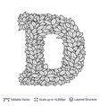 letter d symbol of white leaves vector image