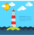 Modern weather background with lighthouse sun and vector image