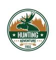 Round badge with elk for hunting club design vector image