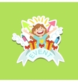 Event Template Label Cute Sticker With Little Girl vector image