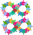 Infinity 8 shape puzzle pieces isolated shadow vector image