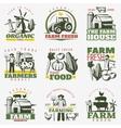 Colorful Farm Emblems Set vector image