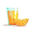 Glass Of Fresh Orange Juice And Slice Of Orange vector image