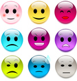 set of color glass smileys vector image