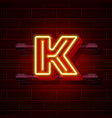 neon city font letter k signboard vector image