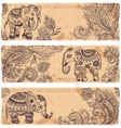 Vintage set of banners with ethnic elephants vector image
