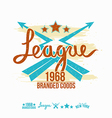 League emblem girls print and design elements vector image