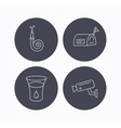 Mailbox video monitoring and fire hose icons vector image