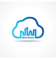 creative city building icon attach with cloud vector image