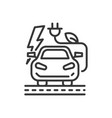 electromobile - modern single line icon vector image