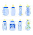 set of baby bottles for boy in vector image