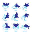 shadow hand puppets isolated on a white background vector image