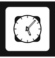 Wall mounted round clock icon simple style vector image