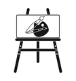 Easel with picture icon in black style isolated on vector image