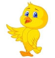 Cute bird cartoon waving vector image